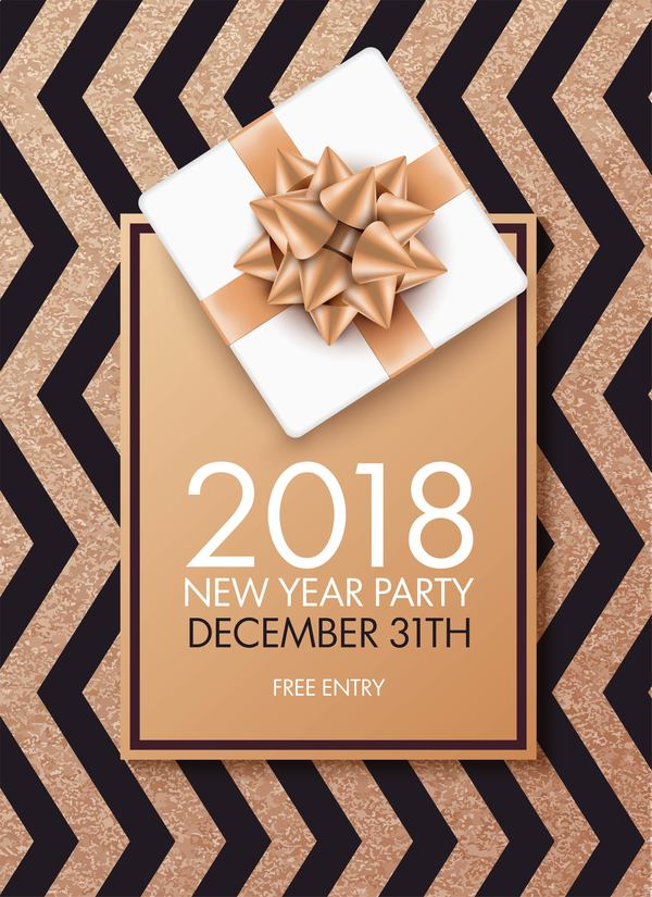 2018 new year party invitation card with bow vector - WeLoveSoLo