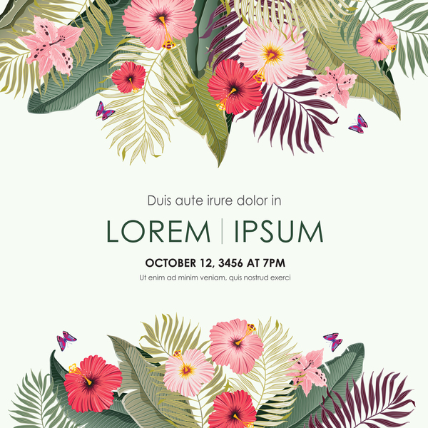 Autumn invitation card template with flower vector 10 WeLoveSoLo