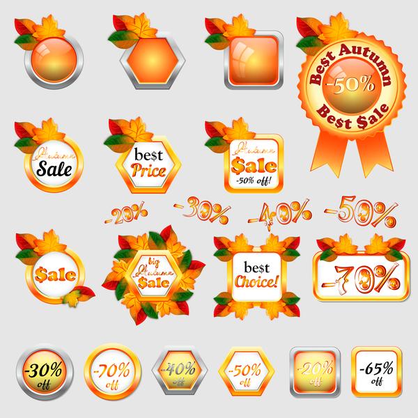 sale labels button badge autumn