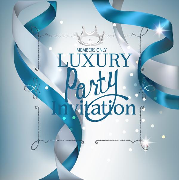 white silk ribbons invitation card blue beautiful
