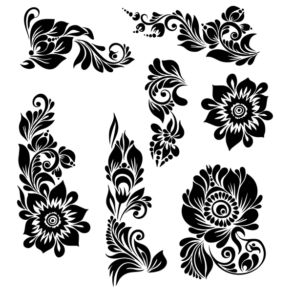 black ornaments floral vector illustration welovesolo