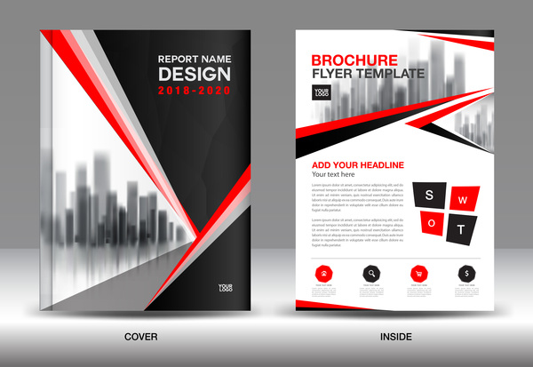 report red cover brochure black annual