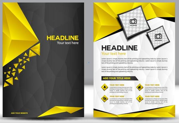 yellow flyer cover comany brochure black
