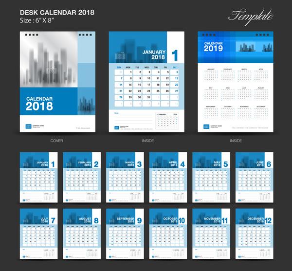 desk calendar blue 2018