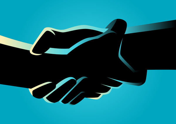silhouette holding hands blue