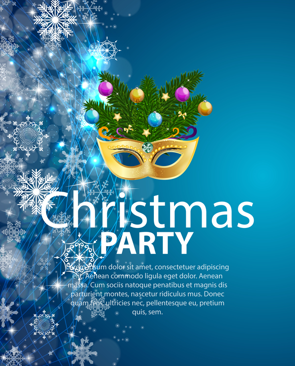 blue christmas party poster vector template 01 welovesolo
