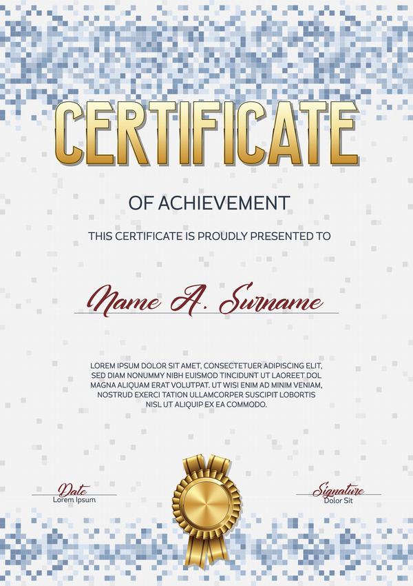 pixelated certificate blue