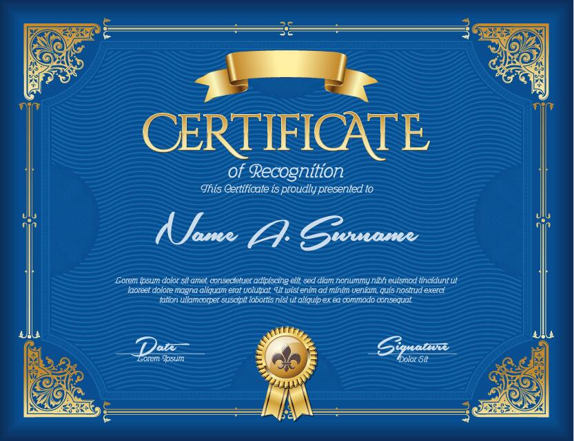 Blue Styles Certificate Template Vector Welovesolo