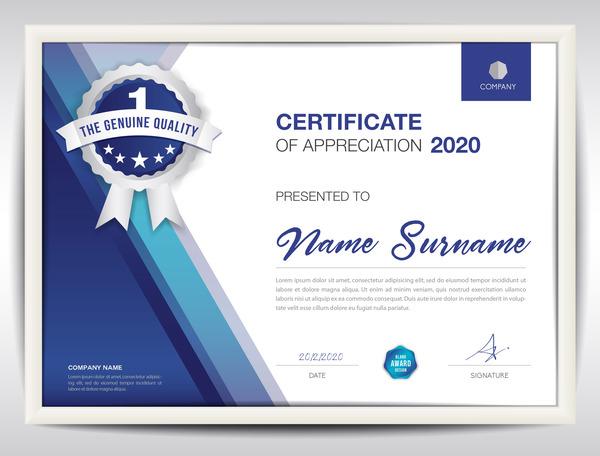 Business Certificate Template Creative Design Vector 02 Welovesolo