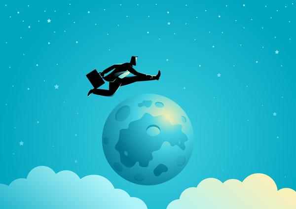silhouette over moon jump businessman