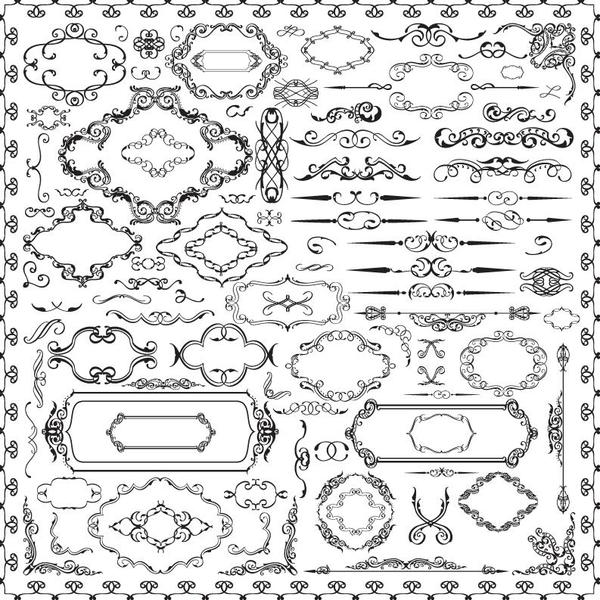 ornaments frame Calligraphy font borders