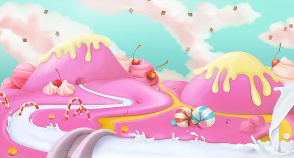 cartoon candy world vector material 02 welovesolo