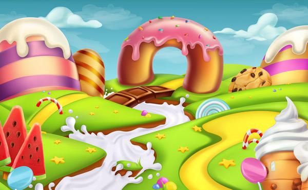 cartoon candy world vector material 05 welovesolo