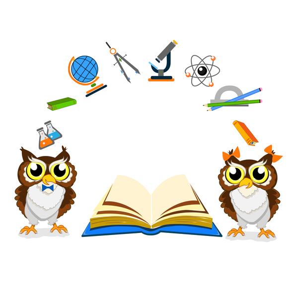 school owl cartoon