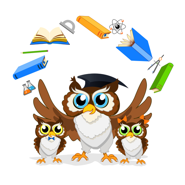school owl cartoon