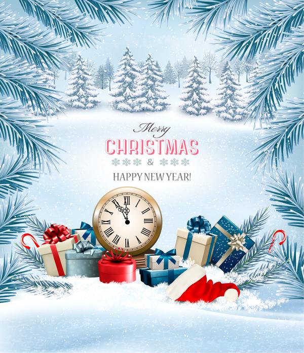 winter trees holiday clock Chistmas