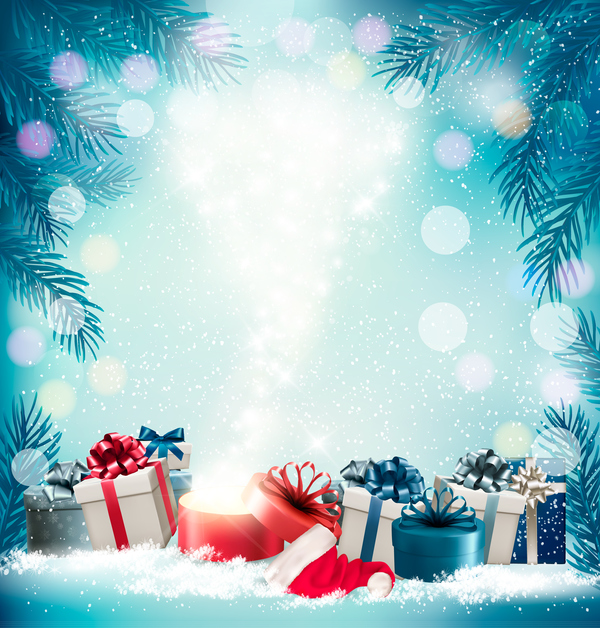 Christmas Background With Presents And Gift Card Vector 03 WeLoveSoLo