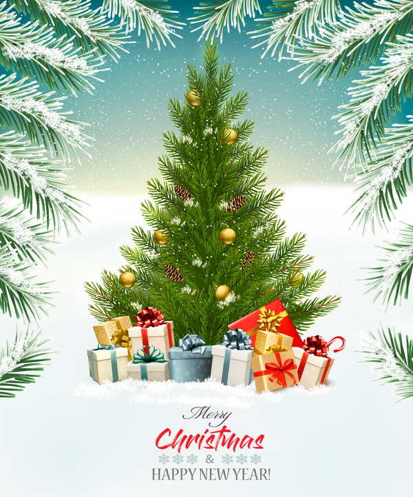 gift boxes christmas tree christmas