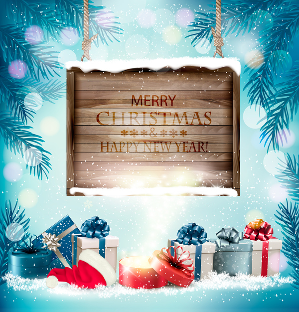 wooden presents christmas board