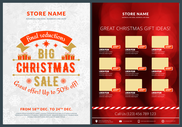 Christmas Brochure Template With Gift Card Vector 13 Welovesolo