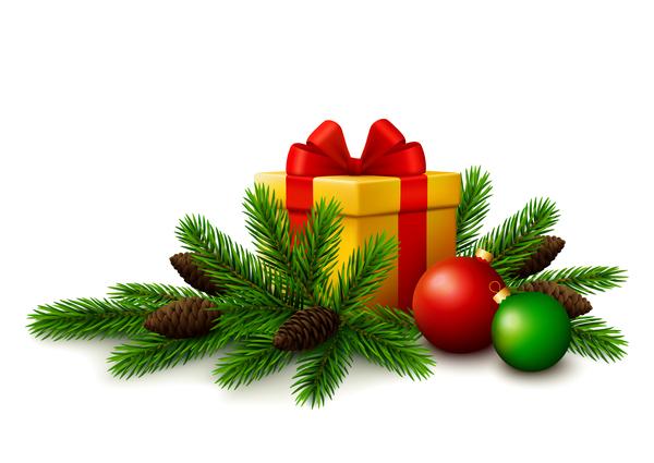 white tree gift fir christmas branches balls