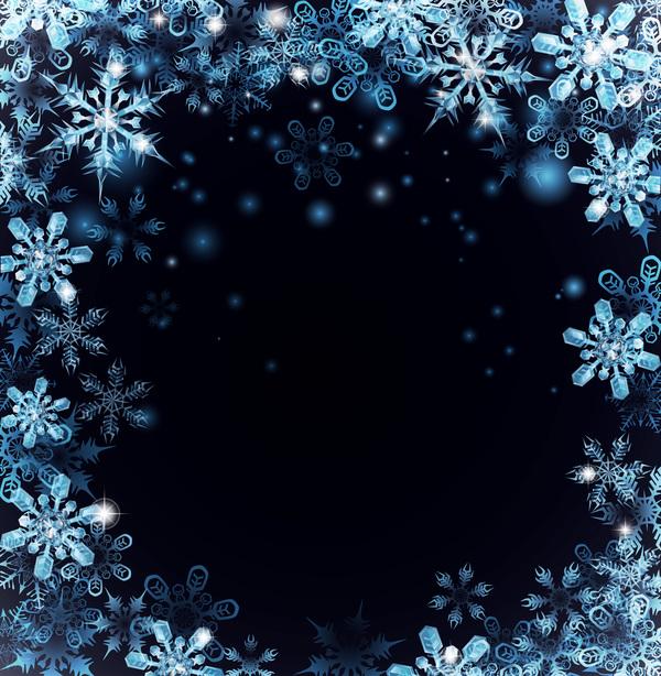 snow frame dark christmas blue