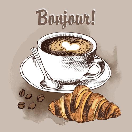 Retro font croissant coffee