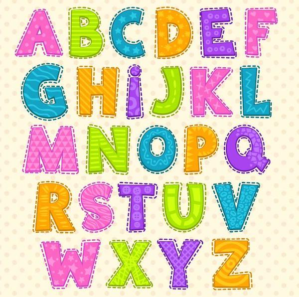 Colored cute alphabet vector welovesolo cute colored alphabet thecheapjerseys Gallery