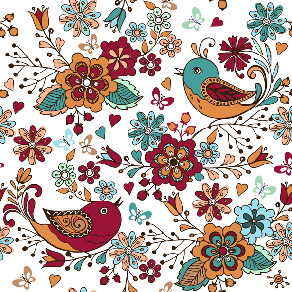 seamless pattern hearts flowers colorful birds
