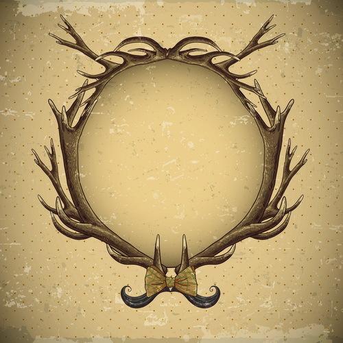 vintage deer cricles antlers