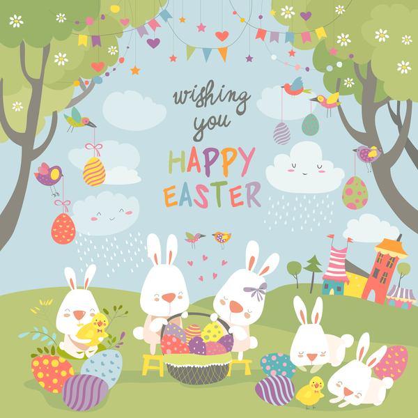 rabbit easter cute cartoon card