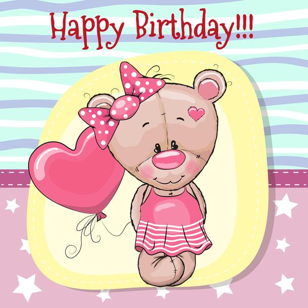 Cute Happy Birthday Baby Card Vectors 01 Welovesolo