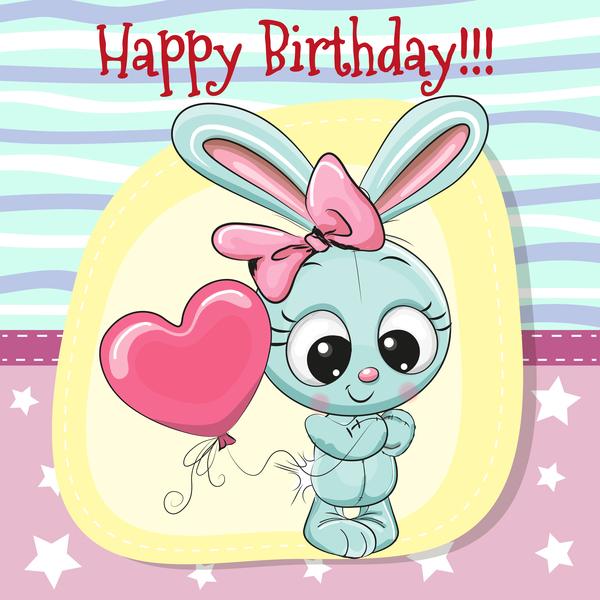 Cute Happy Birthday Baby Card Vectors 07 Welovesolo