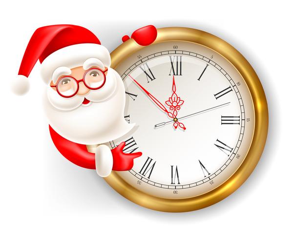 with santa cute clock