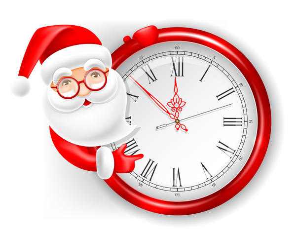 with santa cute clock