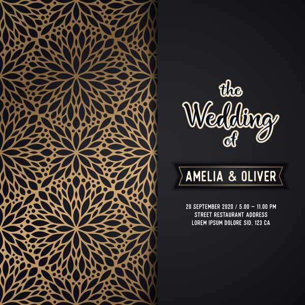 Decor pattern with wedding invitation card vector welovesolo wedding pattern invitation decor card junglespirit Image collections
