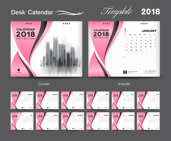 pink desk cover calendar 2018