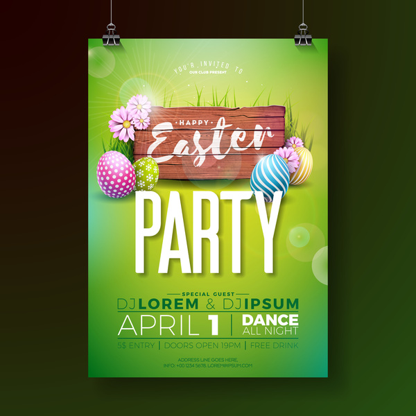 easter party flyer with poster template vectors 03 welovesolo