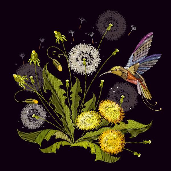 embroidery dandelion bird