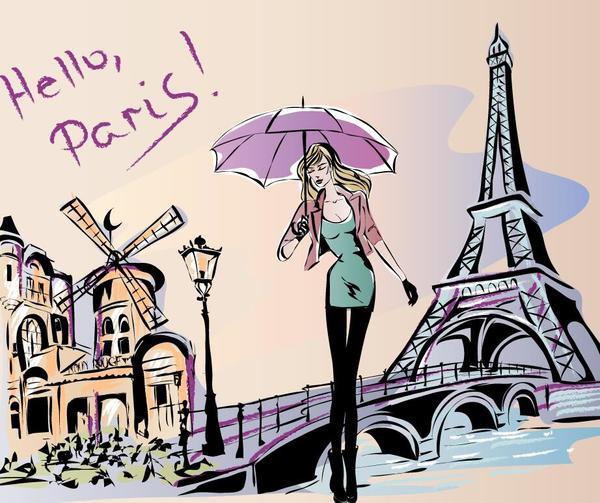 tower hand girl fashion Eiffel