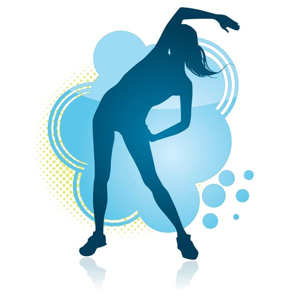 silhouette fitness dance blue
