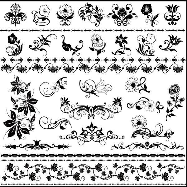 seamless ornaments floral borders