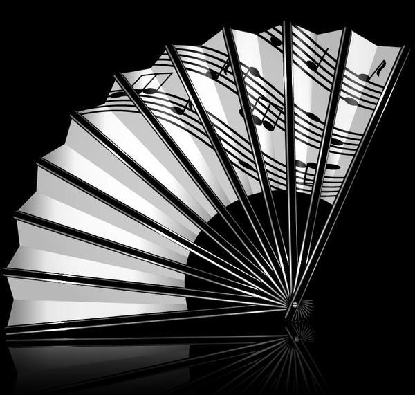 note music folding fan