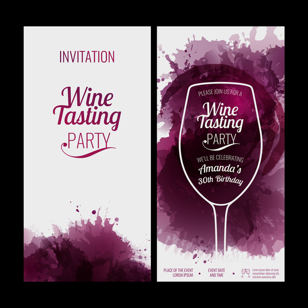 wine stains red party invitation glass