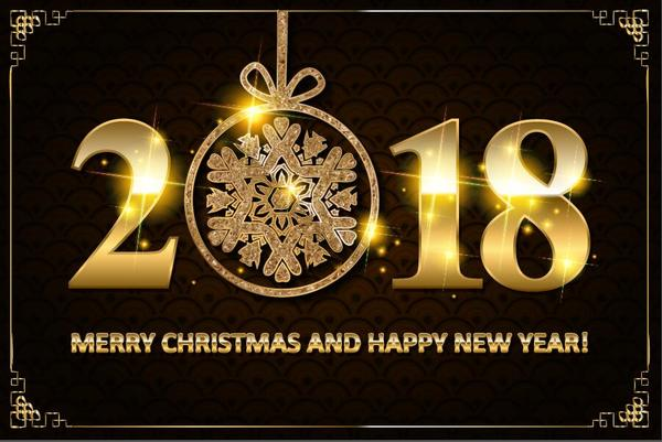 year new golden christmas card 2018
