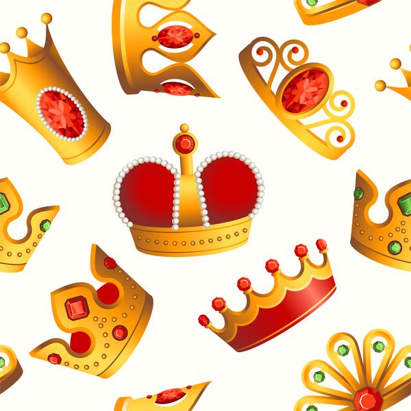 seamless pattern golden crowns