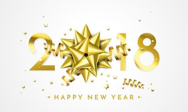year ribbon new golden 2018