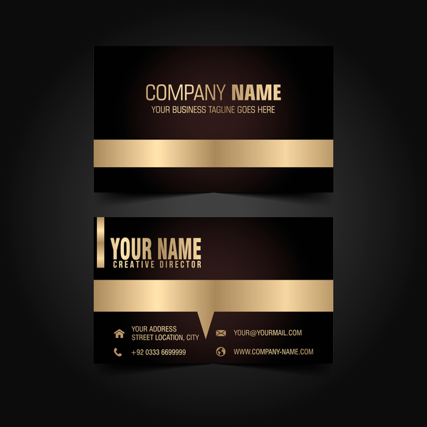 Golden with black luxury business card template vector 01 welovesolo luxury golden card business black reheart Image collections