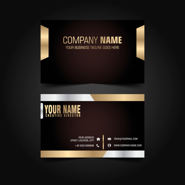 Golden with black luxury business card template vector 02 welovesolo luxury golden card business black reheart Image collections
