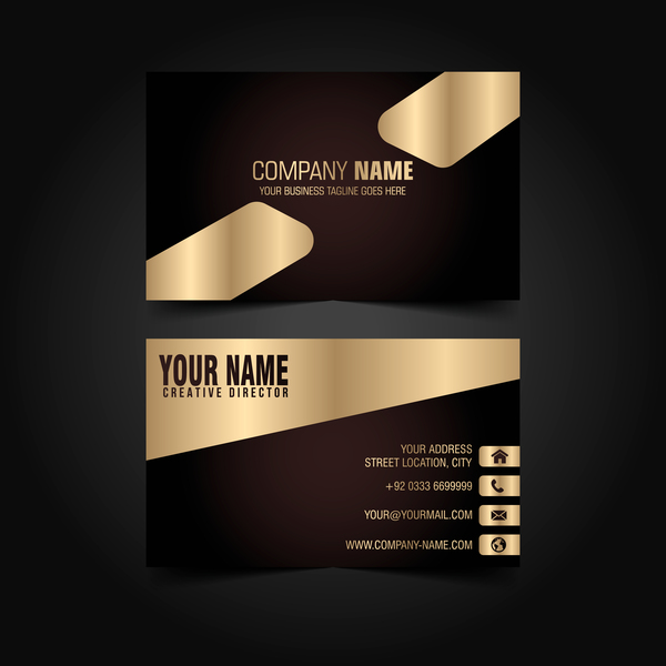 Golden with black luxury business card template vector 04 welovesolo luxury golden card business black reheart Images